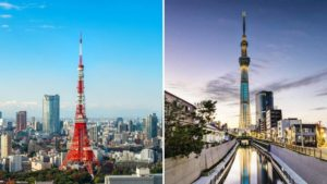 Tokyo Tower and Skytree